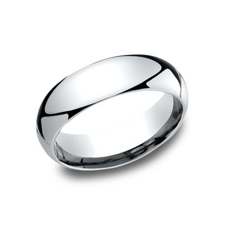 Men's 10k White Gold 6-millimeter Comfort-fit Wedding Band