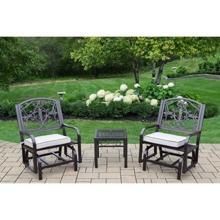 Caseville Gliding Set w/ 2 Oatmeal Cushioned Gliding Chairs and Side Table (Hammertone Brown)