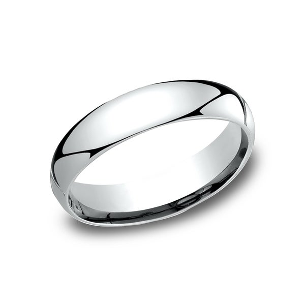Ladies 10k White Gold 5-millimeter Comfort-fit Wedding Band - 10K White Gold