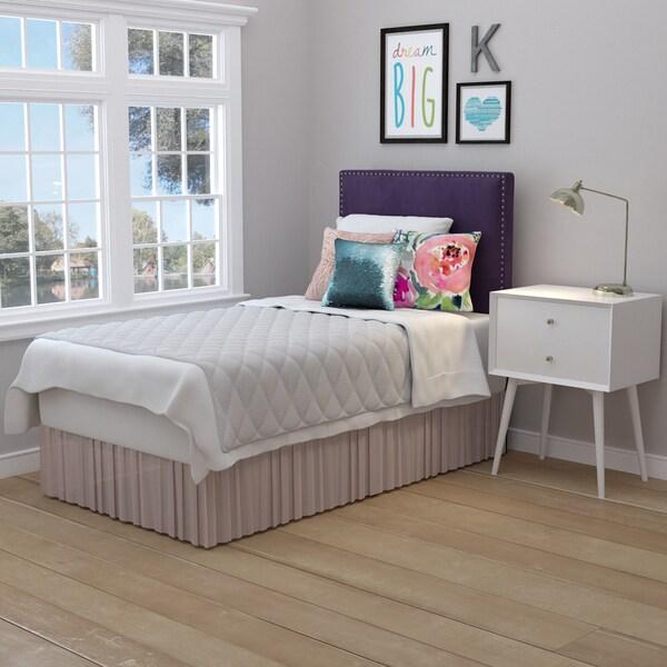 Handy Living Arabella Plum Purple Velvet Upholstered Twin Headboard