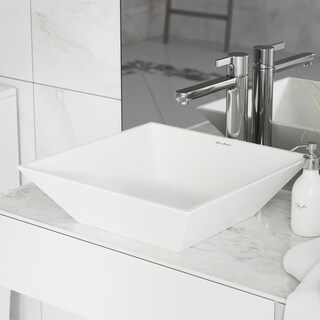 Swiss Madison Plaisir Square Ceramic Bathroom Vessel Sink