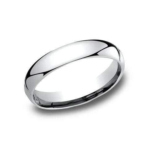 Ladies' 10k White Gold 4-millimeter Comfort-fit Wedding Band - 10K White Gold