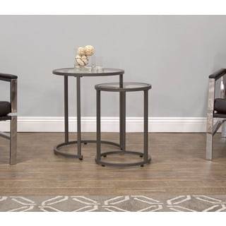 Offex Peter Camber Clear Glass/Metal Nesting Tables