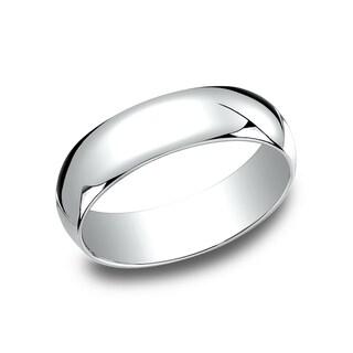 Women's 10k White Gold 6-millimeter Traditional Fit Wedding Band - 10K White Gold
