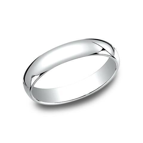 Men's 10k White Gold Traditional-fit 4-millimeter Wedding Band - 10K White Gold