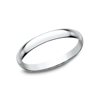 Mens 10K White Gold Traditional Fit Wedding Band
