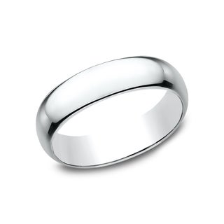 Men's 14-karat White Gold 6-millimieter Traditional-fit Wedding Band