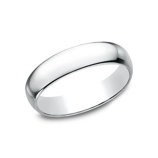 Menu0027s 14k White Gold 5 Millimeter Traditional Fit Wedding Band