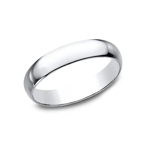 Mens 14k White Gold 4mm Traditional-fit Wedding Band - 14K White gold