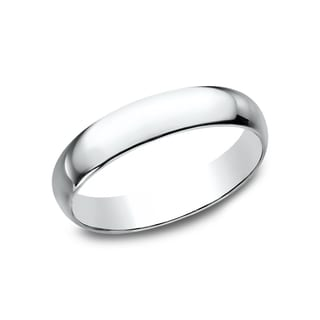 Mens 14k White Gold 4mm Traditional-fit Wedding Band