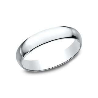 Mens 14k White Gold 4mm Traditional-fit Wedding Band - 14K White Gold (More options available)