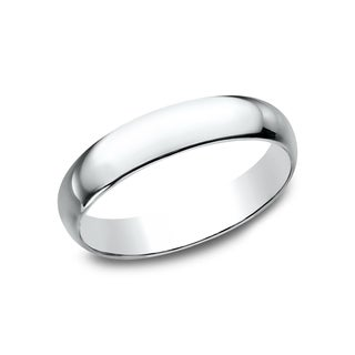 Mens 14k White Gold 4mm Traditional-fit Wedding Band (More options available)