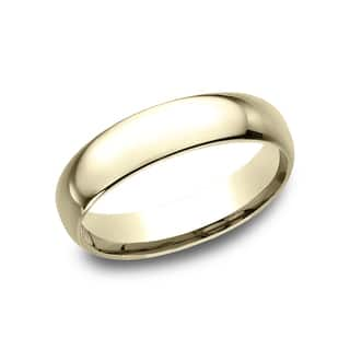 mens 14k yellow gold midweight comfort fit 5mm wedding band - Wedding Ring Bands