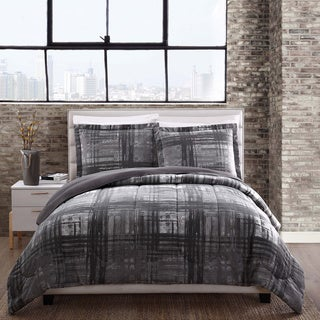 Style 212 Camden Grey Plaid Reversible Comforter Mini Set