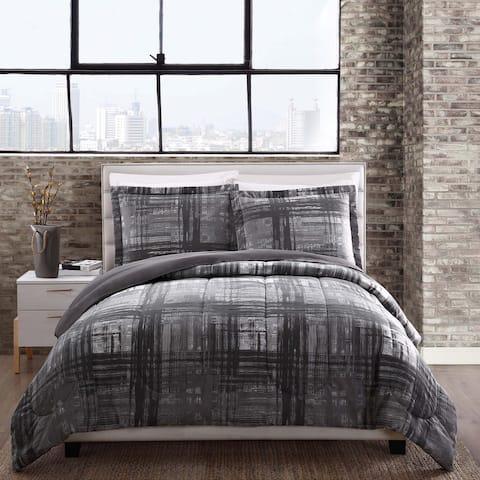 Camden Grey Plaid Reversible Comforter Set