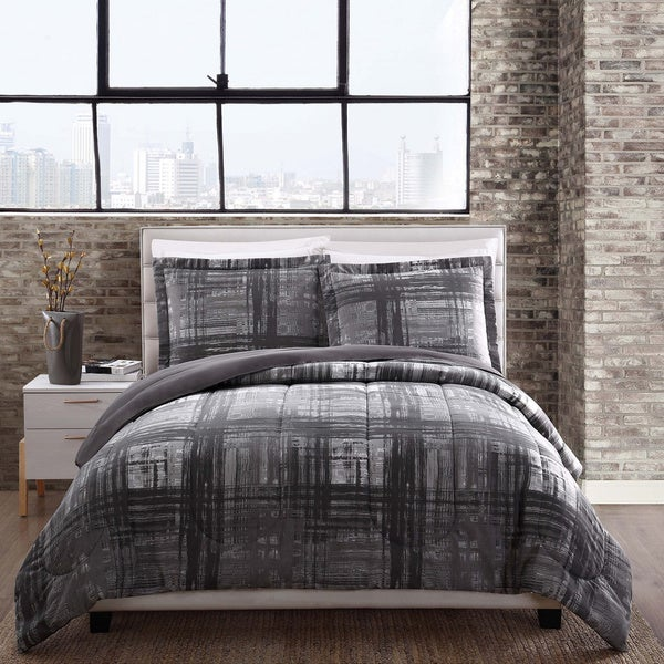 Camden Grey Plaid Reversible Comforter Set