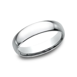 14k White Gold 5-millimeter Men's Comfort-fit Wedding Band