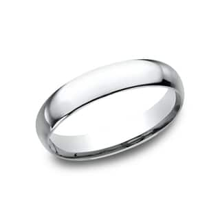 mens 14k white gold midweight comfort fit 4mm wedding band - Mens White Gold Wedding Ring