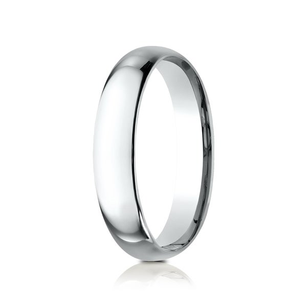 Benchmark 10K Yellow Gold 4mm Slightly Domed Standard Comfort-Fit Wedding Band Ring with Milgrain
