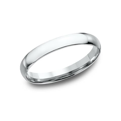 Women's 14k White Gold Midweight Comfort-fit 3mm Wedding Band - 14K White gold