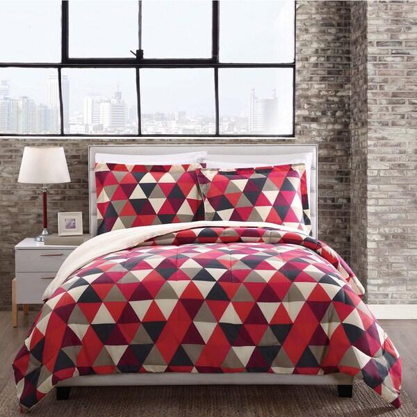 Style 212 Hudson Red Triangles Reversible Comforter Mini Set