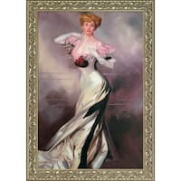 Giovanni Boldini 'Portrait of the Countess Zichy, 1905' Hand Painted Framed Oil Reproduction on Canvas