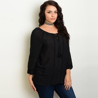 Shop The Trends Women's Plus-size Crochet Trim Detail Long-sleeve Peasant Top