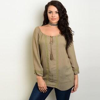 Shop The Trends Women's Plus-size Crochet Trim Detail Long-sleeve Peasant Top