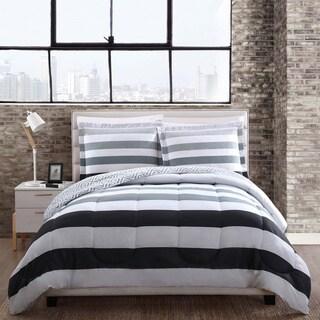 Style 212 Newport Grey Stripe Reversible Comforter Set