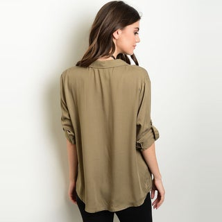 Shop The Trends Women's 3/4 Tab Sleeve Blouse With Lace Up Front