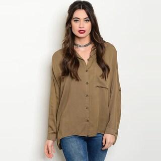 Shop The Trends Women's Brown Rayon 3/4 Sleeve Button-down Collar Shirt