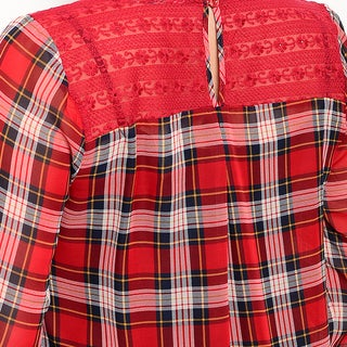 Shop The Trends Women's Plaid Print Polyester Plus Size 3/4 Sleeve Blouse