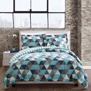 Style 212 Madison Blue Triangles Reversible Comforter Mini Set