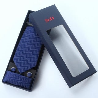 Brio 3 Piece Navy Patterned Tie, Hanky and Cufflink Set