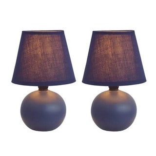Simple Designs Ceramic Mini Globe Table Lamps (Set of 2) (Option: Purple)