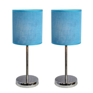 Clay Alder Home Roseman Chrome Mini Basic Table Lamp with Fabric Shade (Set of 2)