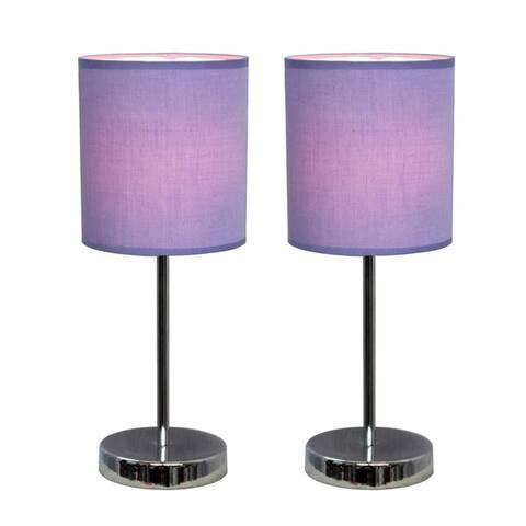 Porch & Den Roseman Chrome Mini Basic Table Lamp with Fabric Shade (Set of 2)