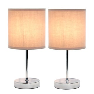 Simple Designs Chrome Mini Basic Table Lamp with Fabric Shade (Set of 2)
