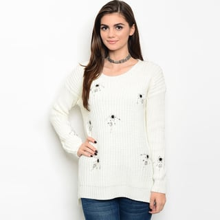 Shop The Trends Women's Long-sleeve Chunky Knit Sweater with Rhinestones Detail|https://ak1.ostkcdn.com/images/products/13842570/P20486011.jpg?impolicy=medium
