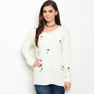 Shop The Trends Women's Long-sleeve Chunky Knit Sweater with Rhinestones Detail