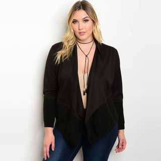 Shop The Trends Women's Plus Size Long Sleeve Cardigan With Open Drape Front