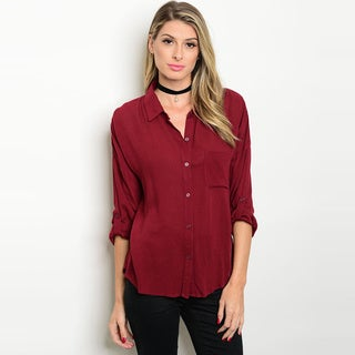 Shop The Trends Women's Rayon 3/4 Tab Sleeve Button Down Shirt with Single Chest Pocket Detail