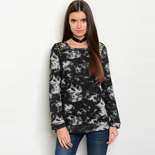 Shop The Trends Women's Black/Grey Allover Tie Dye Long-sleeve Sweater