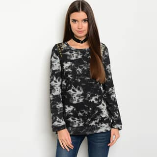 Shop The Trends Women's Black/Grey Allover Tie Dye Long-sleeve Sweater|https://ak1.ostkcdn.com/images/products/13842625/P20486033.jpg?impolicy=medium