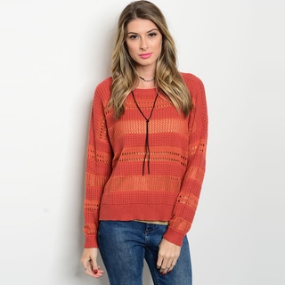 Shop The Trends Women's Orange Long-sleeve Knit Sweater with Ribbed Hem