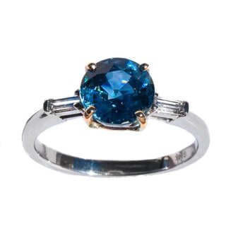 California Girl Jewelry Unheated Royal Blue Sapphire and Diamond Accent Ring
