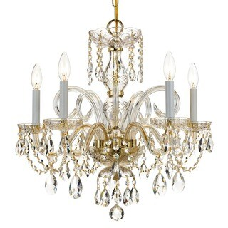 Crystorama Traditional Crystal Collection 5-light Polished Brass/Crystal Chandelier - Gold