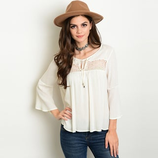 Shop The Trends Women's Ivory Rayon 3/4 Bell Sleeve Peasant Top with Crochet Yoke
