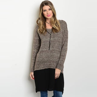Shop The Trends Women's Mocha Knit Sweater with Black Chiffon Hem