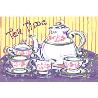 Marmont Hill - 'Tea Time' by Reesa Qualia Painting Print on Wrapped Canvas